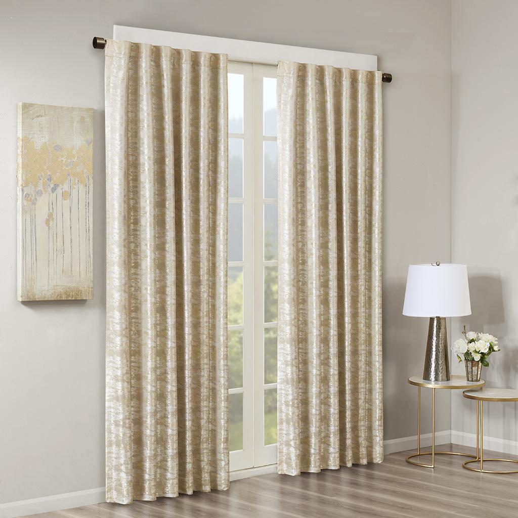 SunSmart - Cassius Marble Jacquard Total Blackout Rod Pocket/Back Tab Curtain Panel - Gold - 50x108