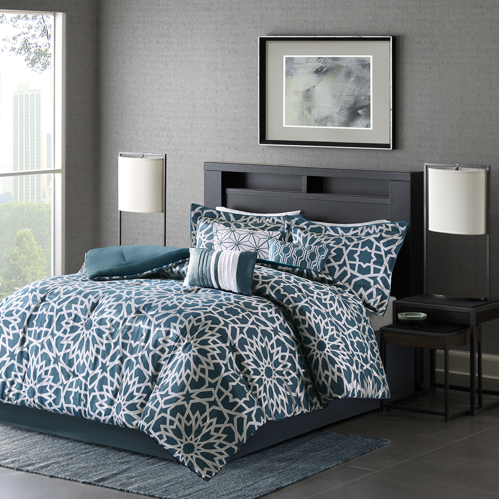 Madison Park - Carlow 7 Piece Comforter Set - Teal - Cal King