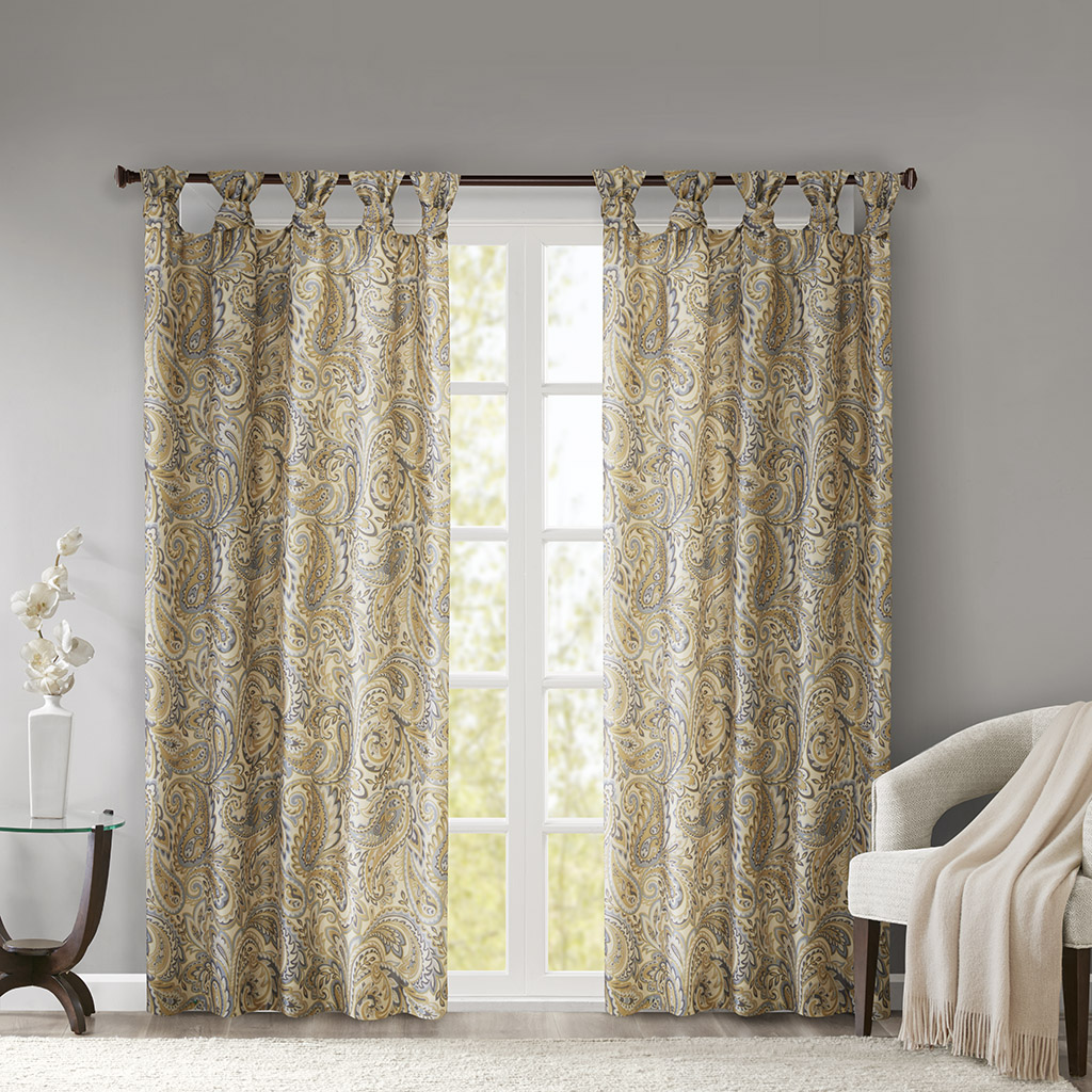 Madison Park - Yvette Twist Tab Paisley Printed Window Panel - Yellow - 50x84