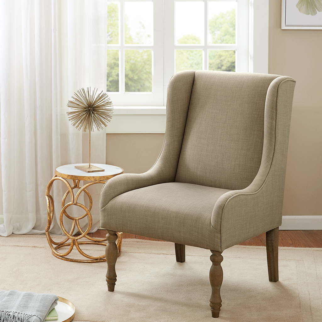 Madison Park - Gable Turned Leg Wing Chair - Taupe - See below 100% Polyester; Select Hardwoods and Plywood; High Density Foam