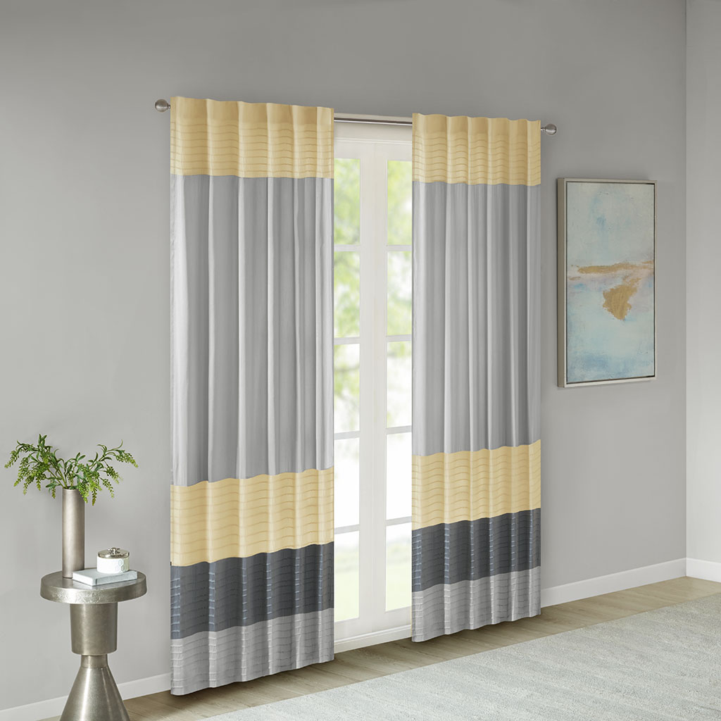 "Madison Park - Amherst Polyoni Pintuck Window Curtain - Yellow - 84"" Panel"