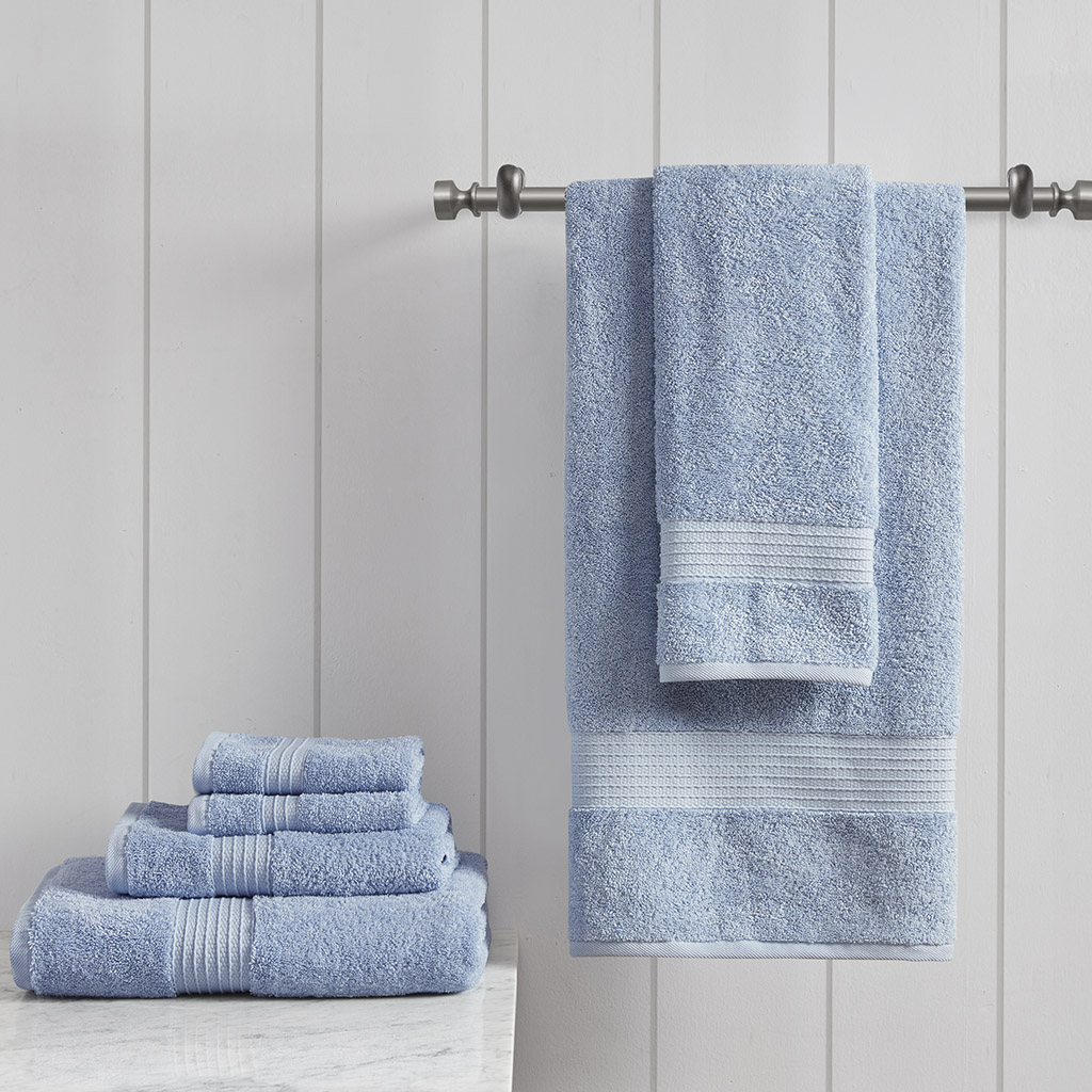 Madison Park - Organic Cotton Towel Set - Blue - See below