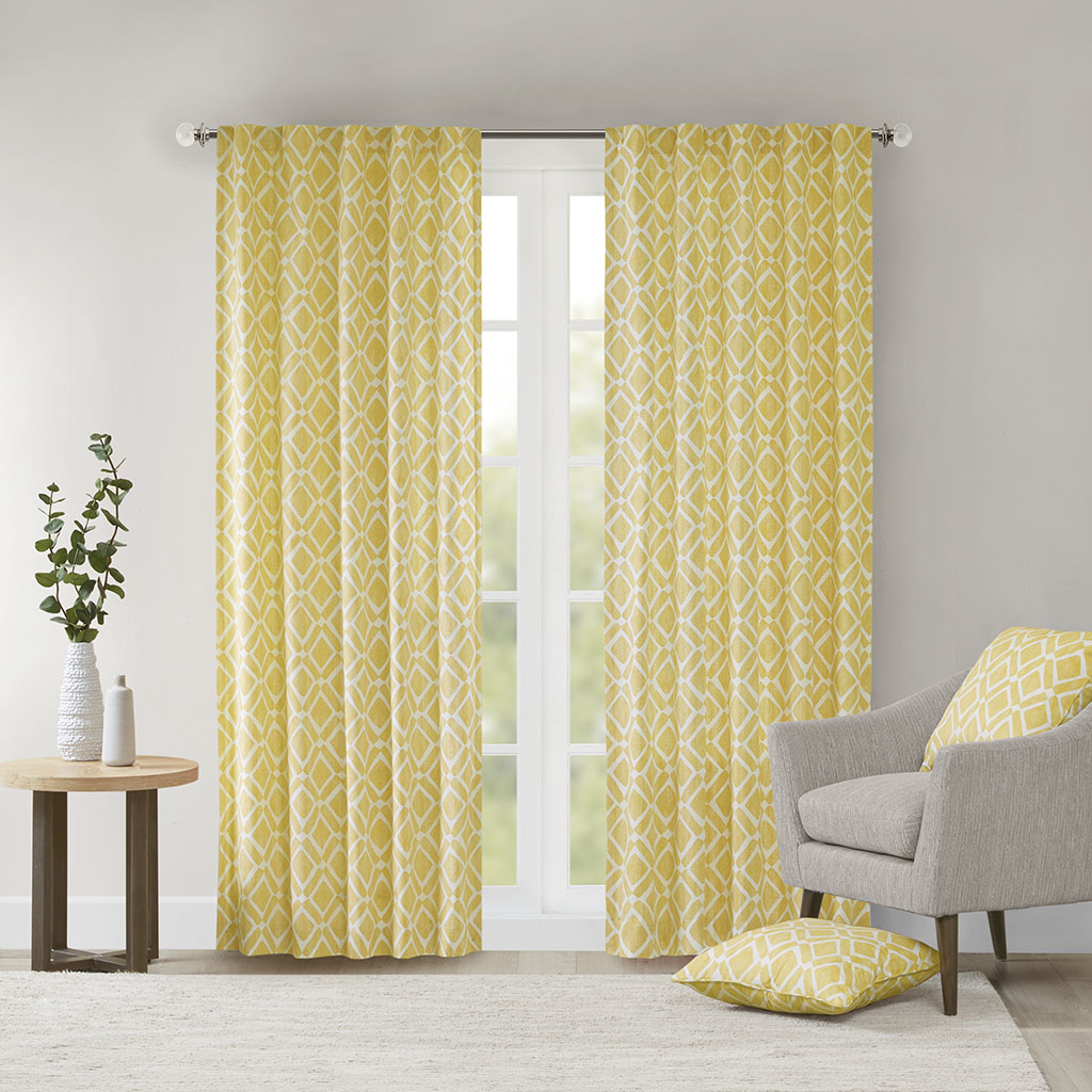 "Madison Park - Delray Diamond Window Curtain - Yellow - 95"" Panel"