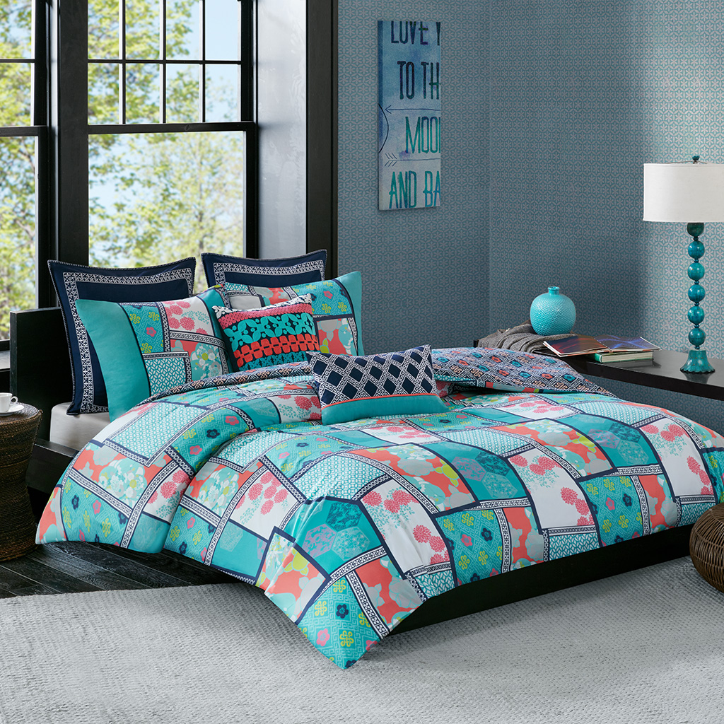 Josie by Natori - Mix & Match Cotton Reversible Print duvet cover set - Multi - Full/Queen