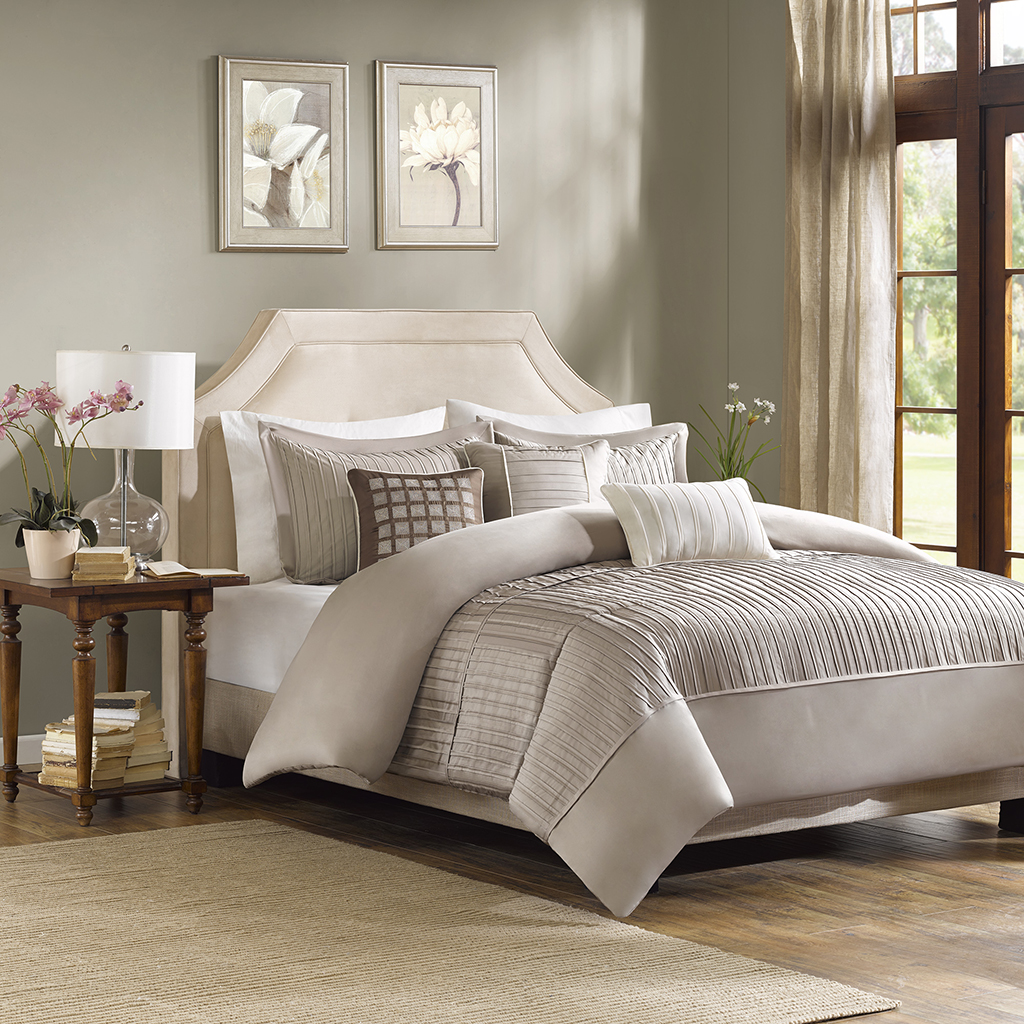 Madison Park - Trinity 6 Piece Duvet Cover Set - Taupe - Full/Queen