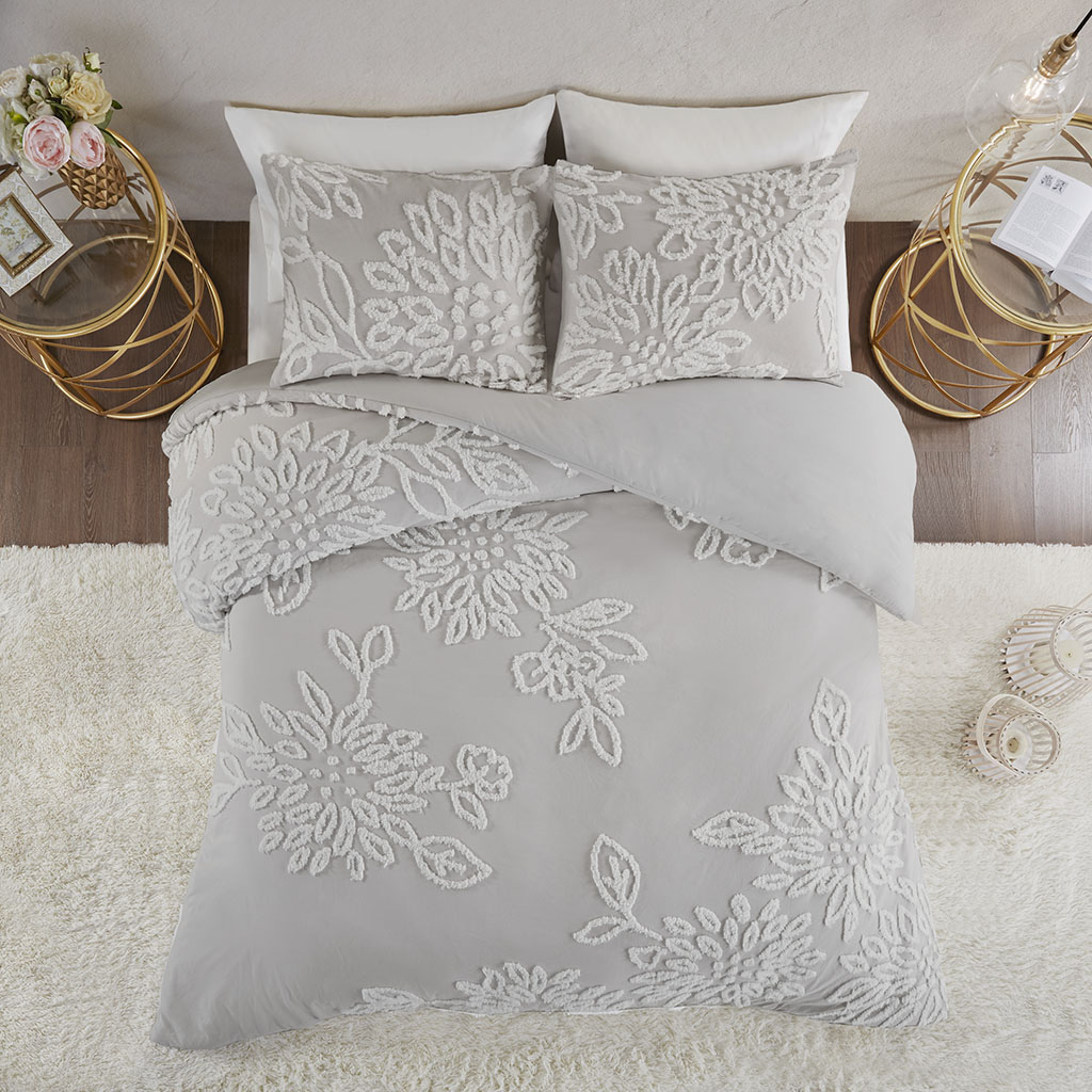 Madison Park - Veronica 3 Piece Tufted Cotton Chenille Floral Duvet Cover Set - Grey/White - King/Cal King