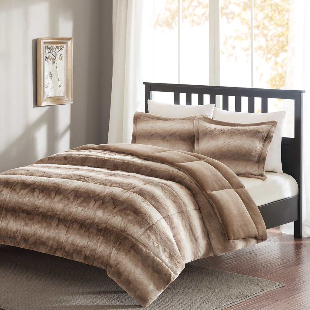 Madison Park - Print Faux Fur Comforter Mini Set - Tan - Full/Queen