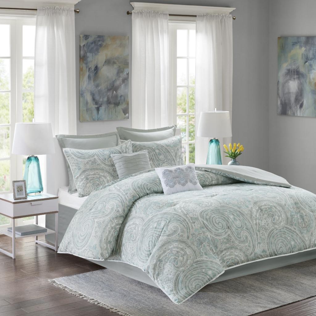 Comfort Spaces - Kashmir 8 Piece Comforter Set - Blue/Grey - Queen