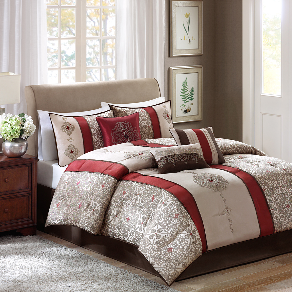 Madison Park - Donovan 7 Piece Jacquard Comforter Set - Red - Cal King