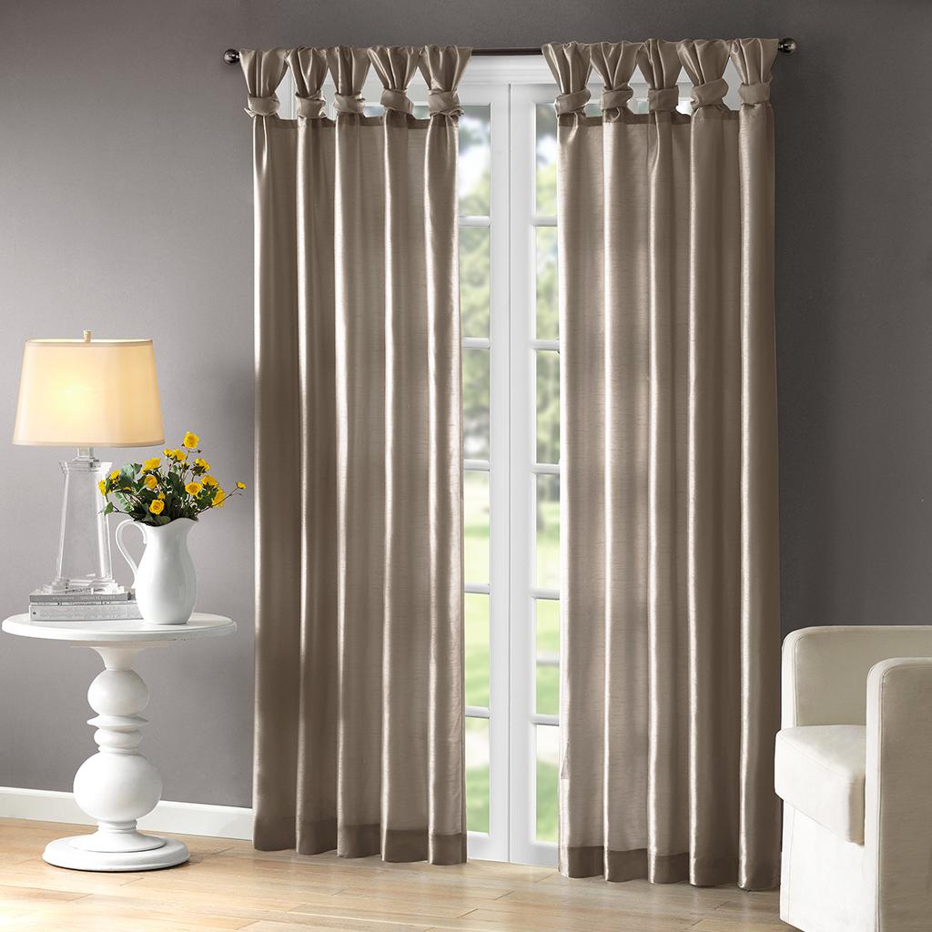 """Madison Park - Emilia Twist Tab Lined Window Curtain - Pewter - 95"""" Panel"""