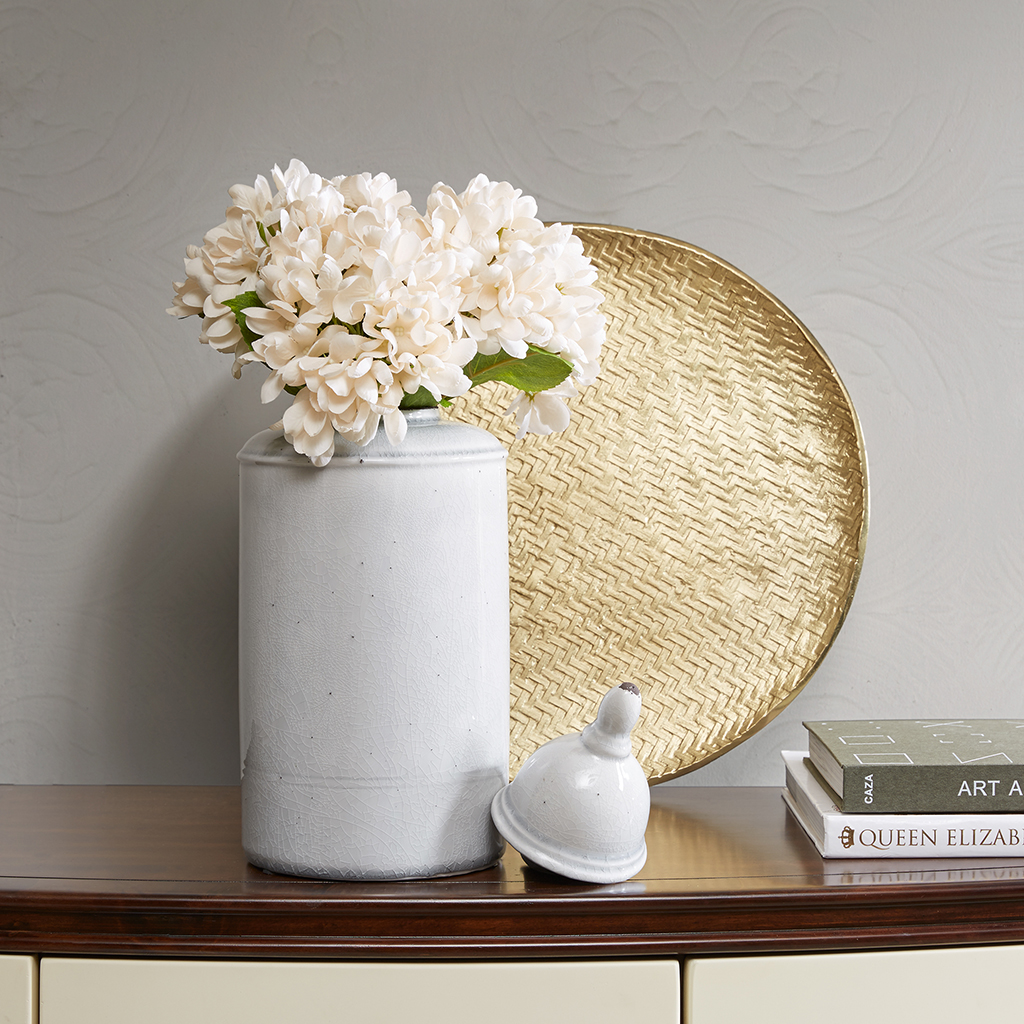 Madison Park Signature - Clift Ceramic Jar - Light Grey - Small