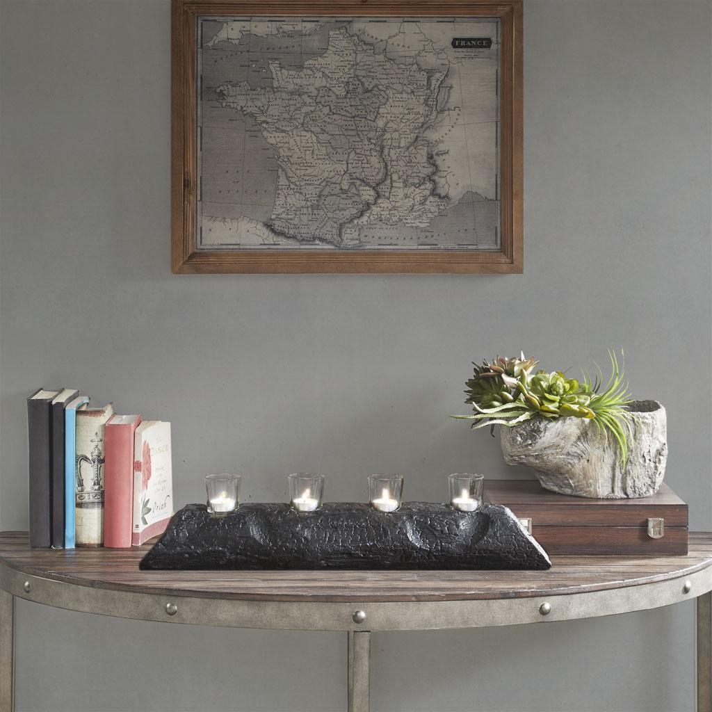 Madison Park - Modine Wood Candle Holder - Black - Small