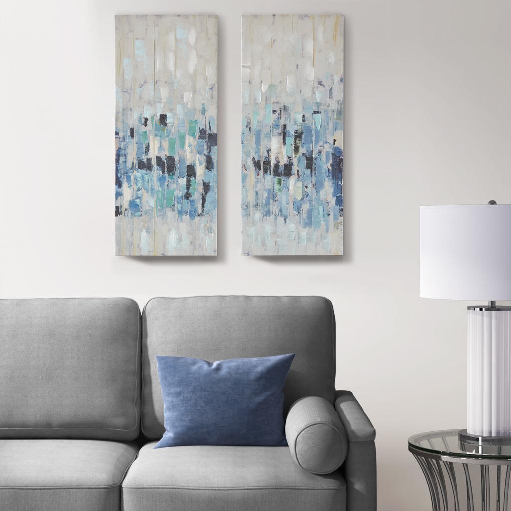 Madison Park - Blue Impression Hand Embellished 2 Piece Canvas Set - Blue - See below