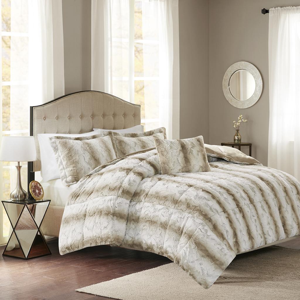 Madison Park - Zuri Faux Fur Comforter Set - Sand - Full/Queen