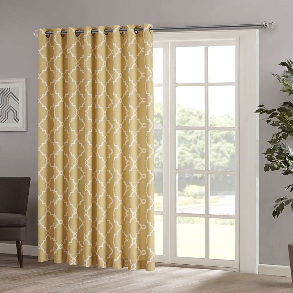 "Madison Park - Saratoga Fretwork Print Patio Window Curtain - Yellow - 84"" Panel"