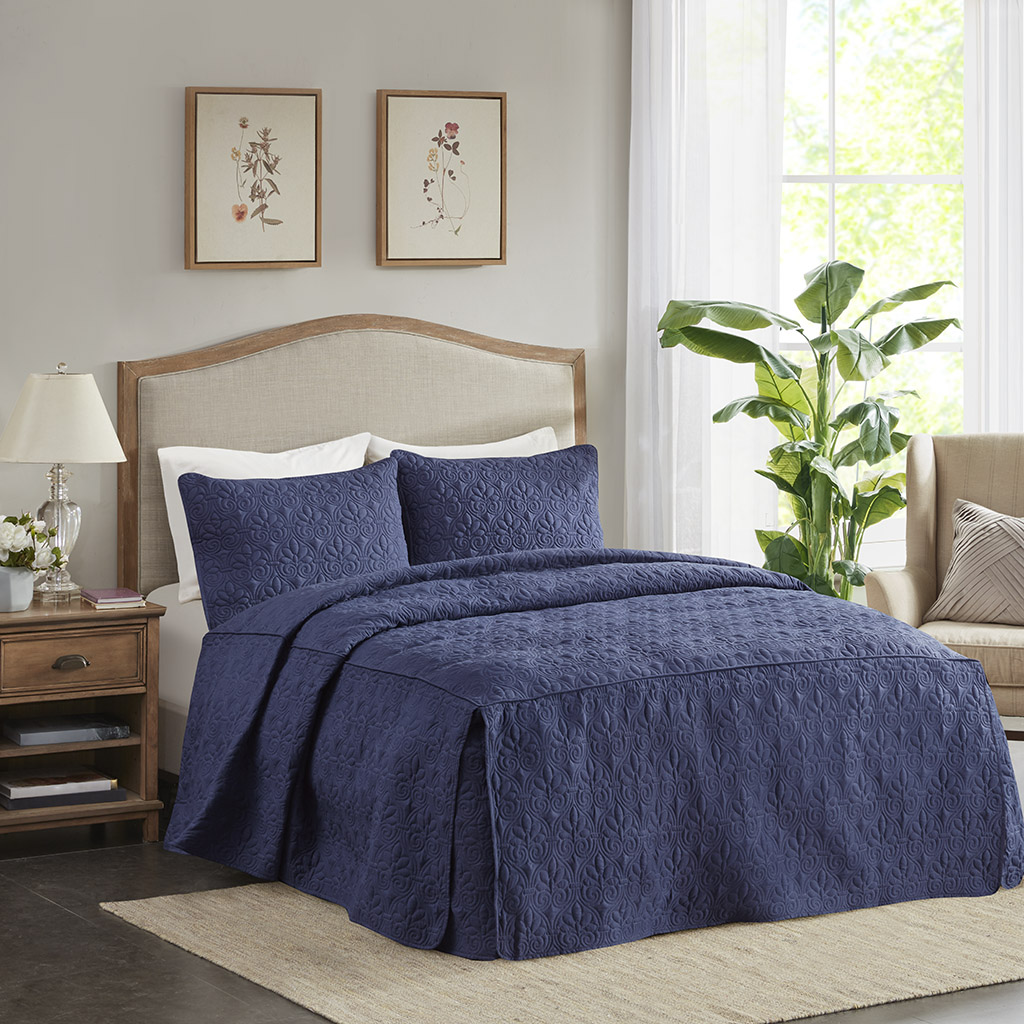Madison Park - Quebec 3 Piece Fitted Bedspread Set - Navy - Queen