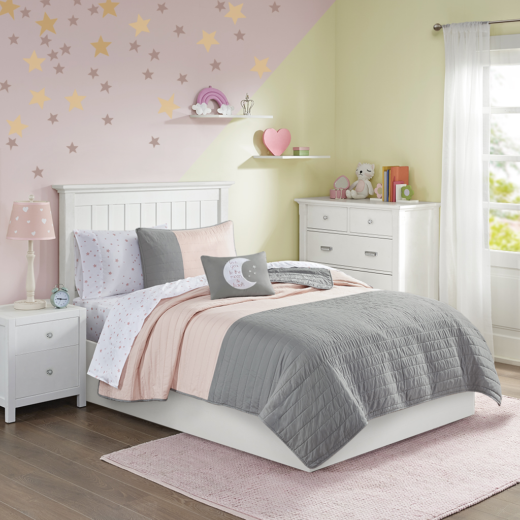 Mi Zone Kids - Emery Complete Coverlet and Sheet Set - Grey/Pink - Twin