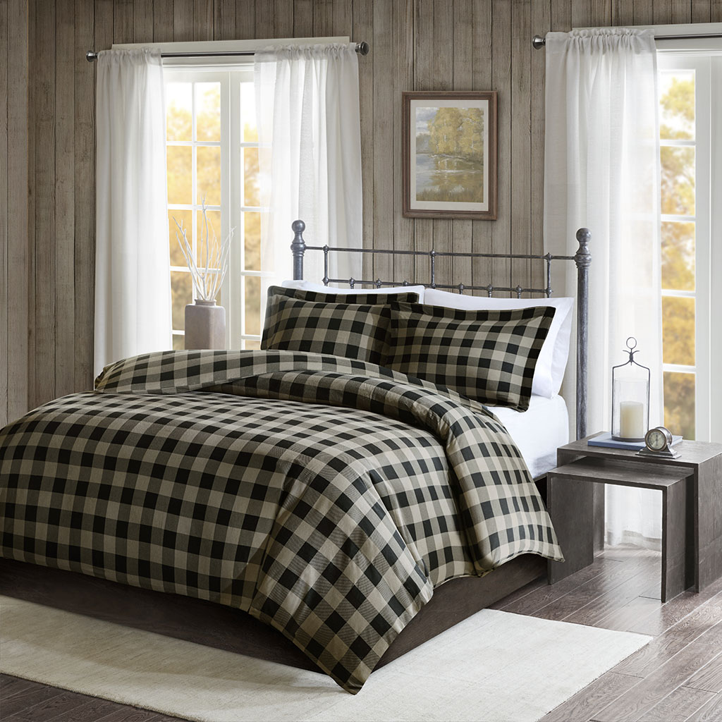 Woolrich - Flannel Check Print Cotton Duvet Cover Set - Black/Tan - King/Cal King