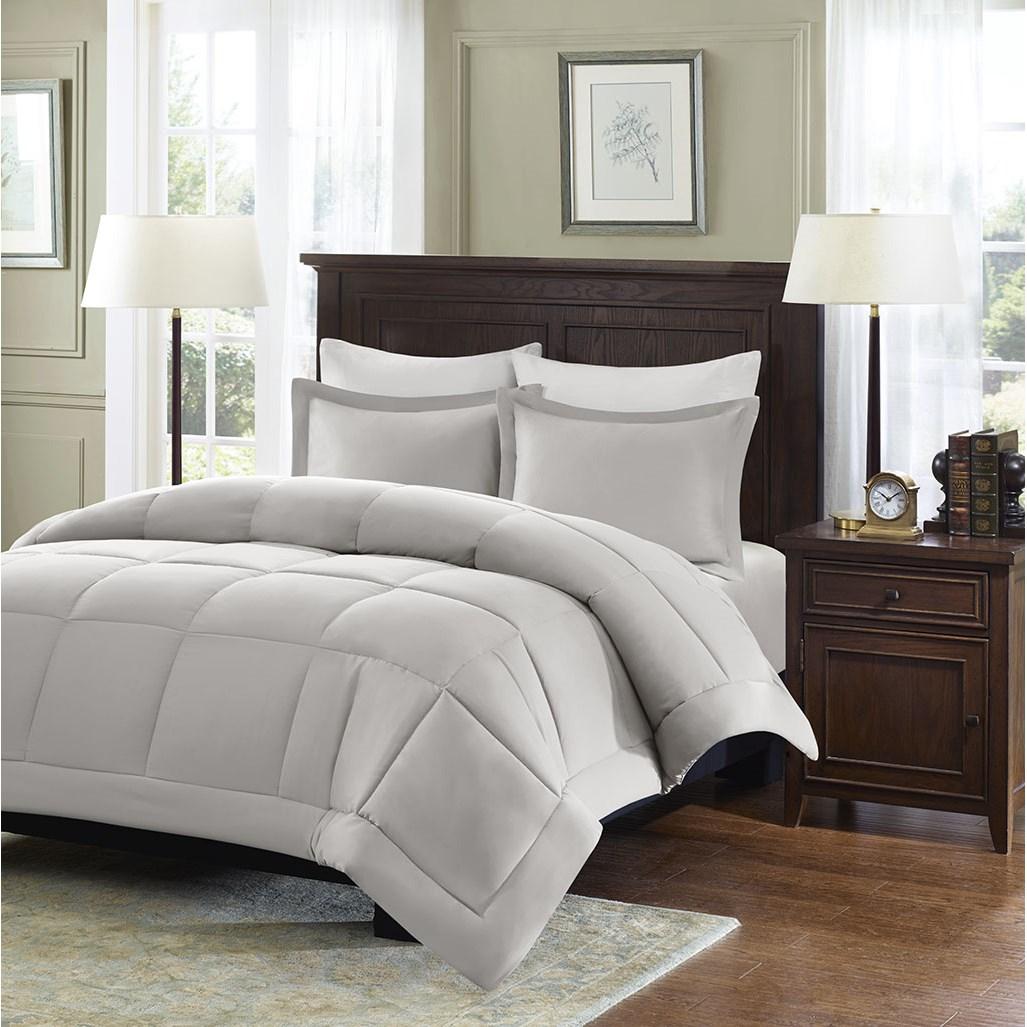 Madison Park - Sarasota Microcell Down Alternative Comforter Mini Set - Grey - Full/Queen