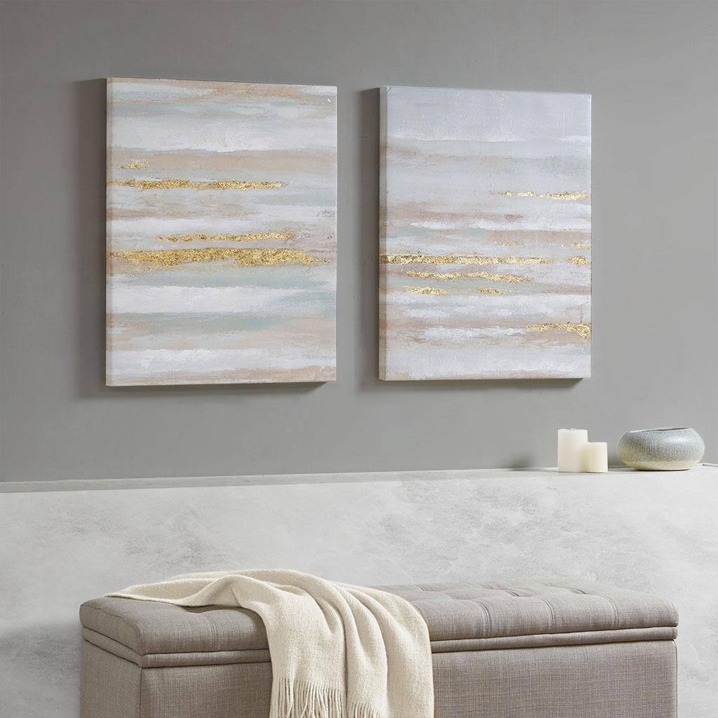 Madison Park - Seafoam Aurora 2 Piece Canvas Art in Heavy Textured Gold Foil - Multi - See below