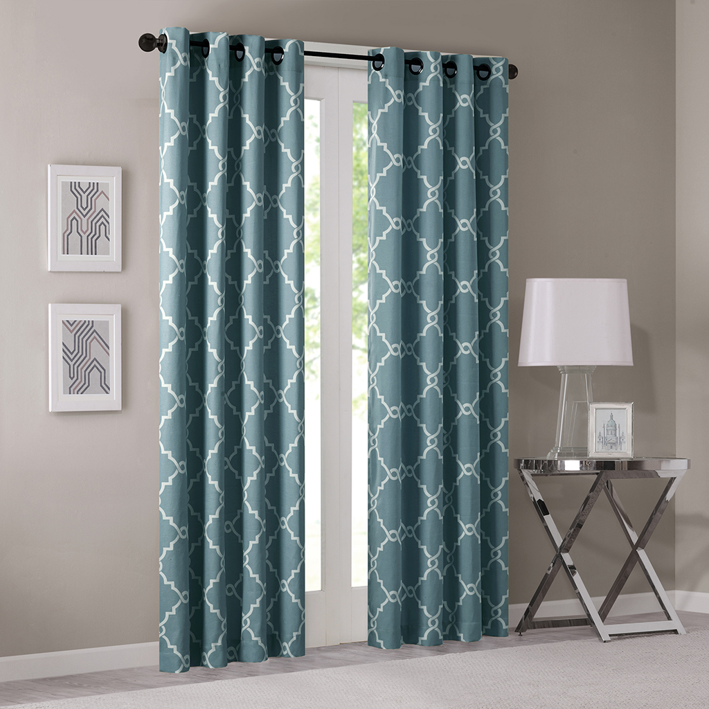 "Madison Park - Saratoga Fretwork Print Grommet Top Window Curtain - Blue - 95"" Panel"