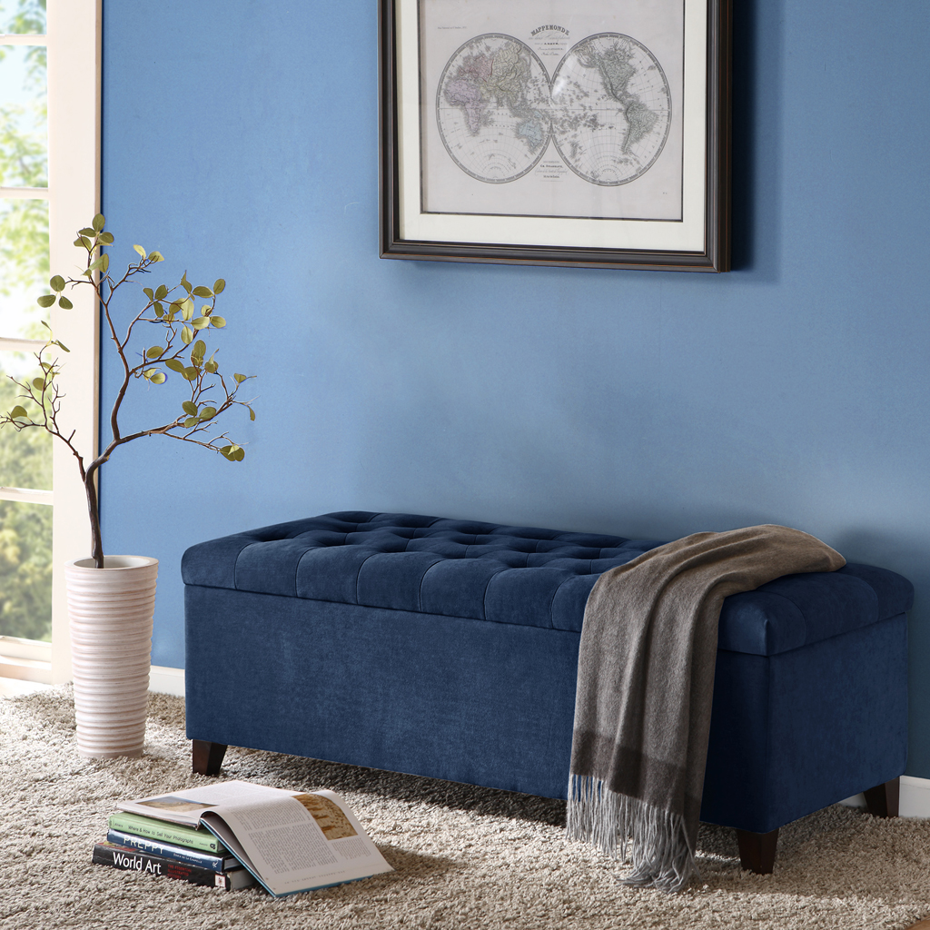 Madison Park - Shandra Tufted Top Storage Bench - Navy - See below