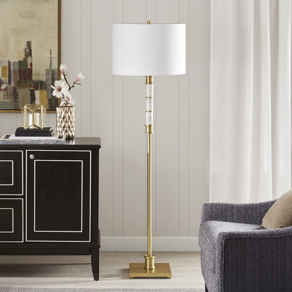 Madison Park Signature - Adeline Floor Lamp - White/Gold - See below