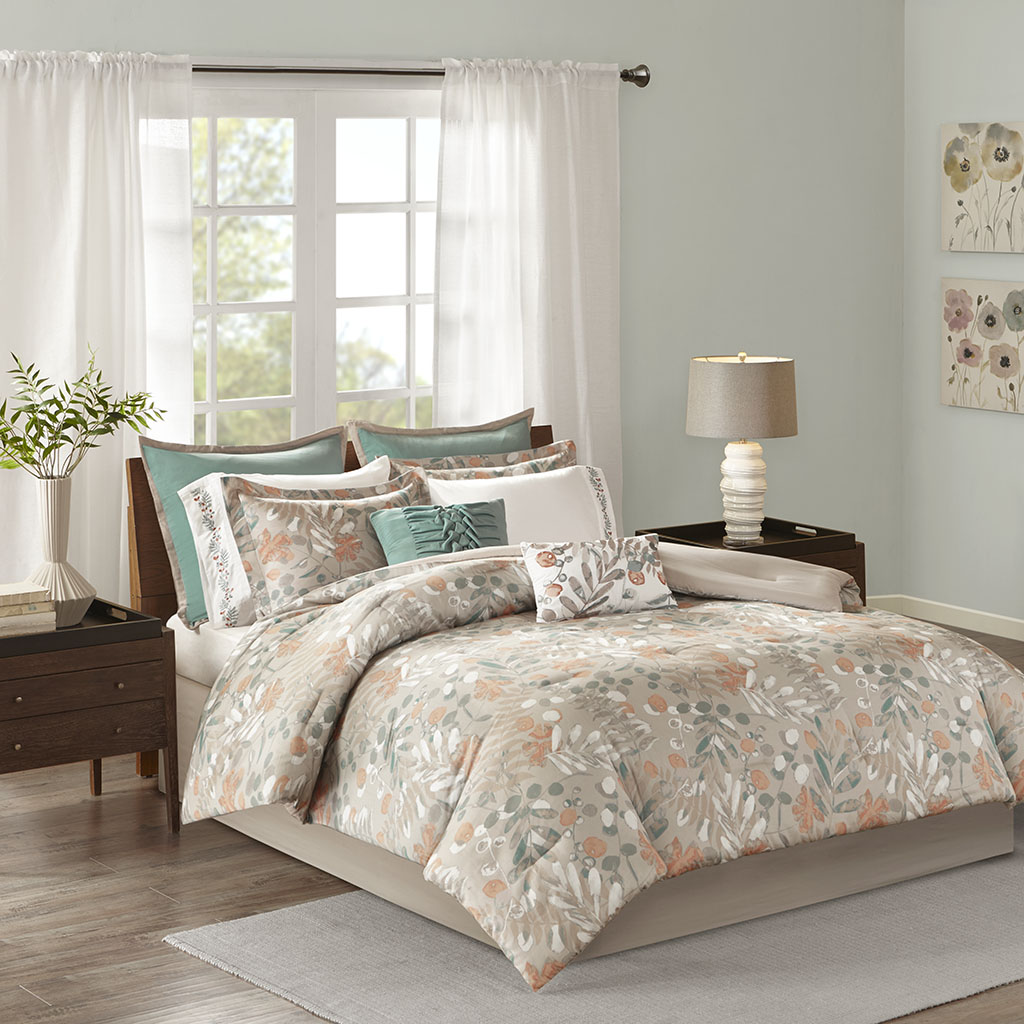 Madison Park - Fay 10 Piece Cotton Sateen Comforter Set - Spice - Cal King
