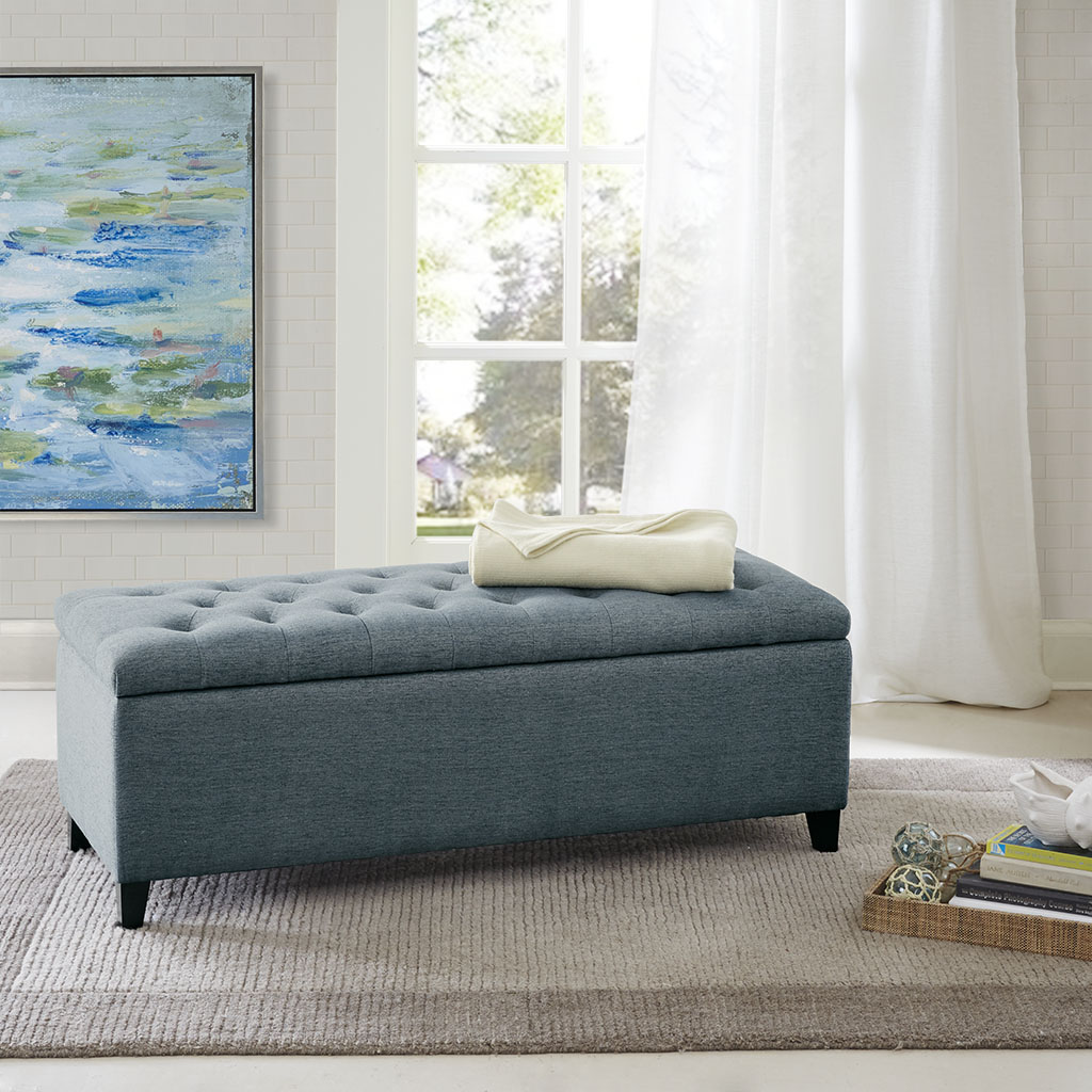 Madison Park - Shandra Tufted Top Storage Bench - Blue - See below