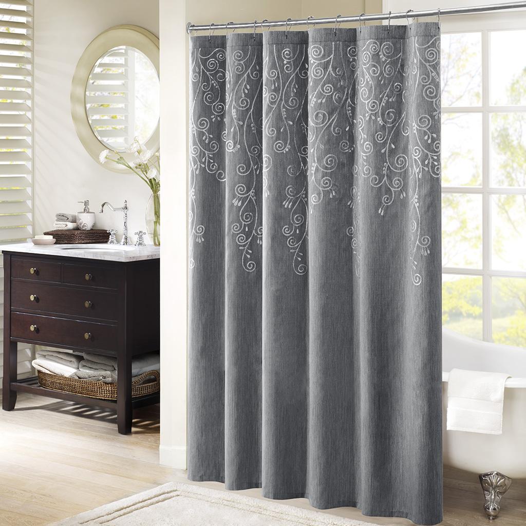 Madison Park - Tara Embroidered Shower Curtain - Grey - 72x72