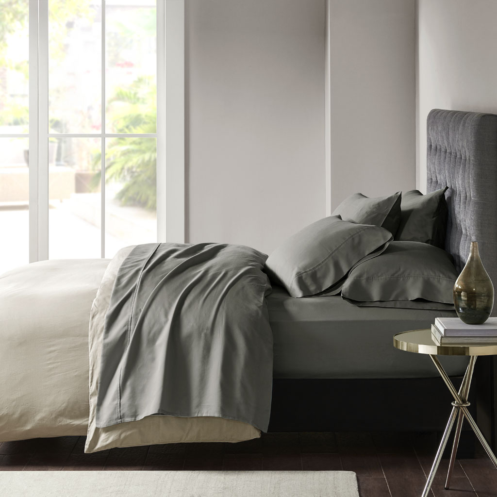Madison Park - 800 Thread Count Cotton Blend Sateen Sheet Set - Charcoal - Cal King