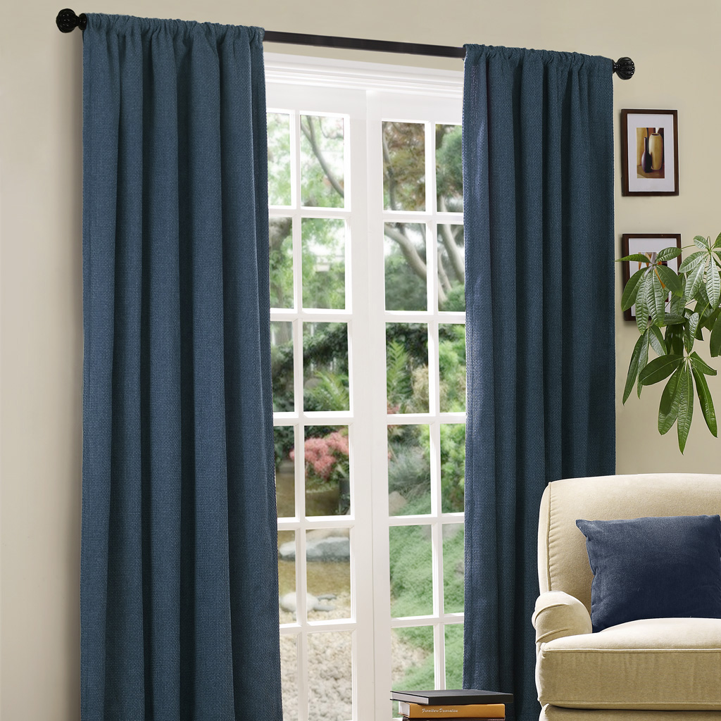 "Madison Park - Basket Weave Window Curtain - Slate - 84"" Panel"