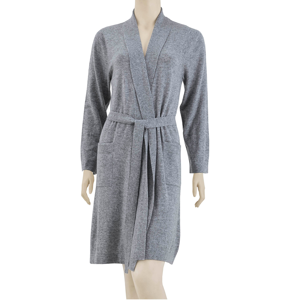 Madison Park Signature - Luxury Cashmere Robe - Grey - L/XL