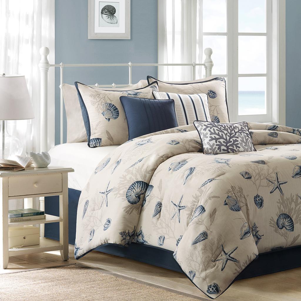 Madison Park Bayside 7 Piece Comforter Set Blue Cal