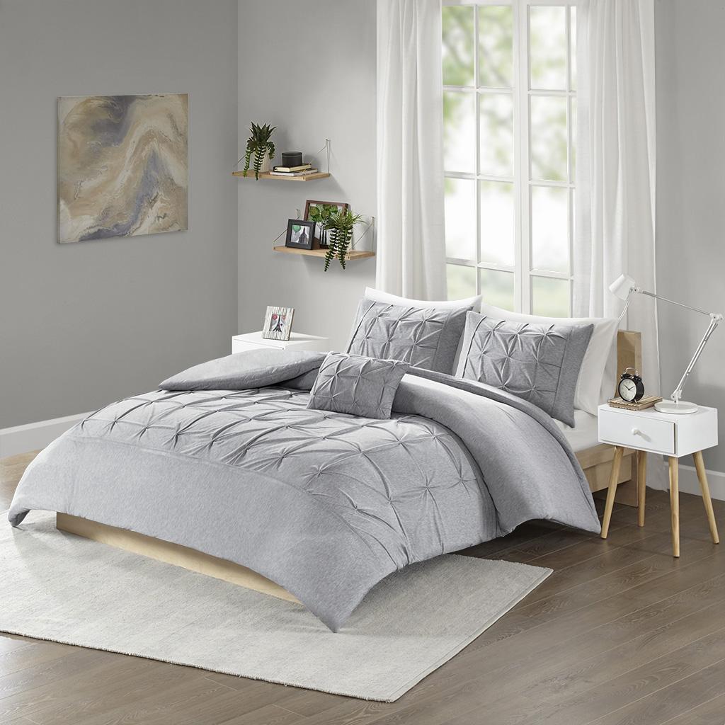 Intelligent Design - Casey Jersey Tufted Duvet Cover Set - Grey - Full/Queen