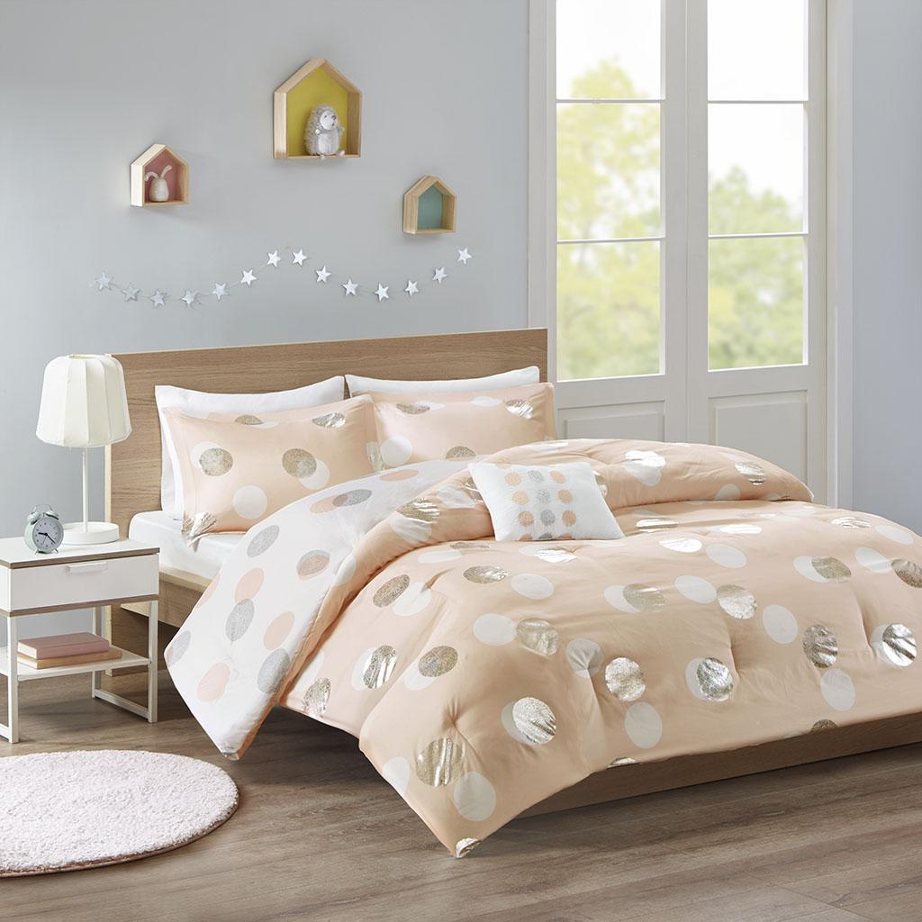 Mi Zone - Emelia Metallic Dot Print Reversible Comforter Set - Pink/Silver - Twin/Twin XL