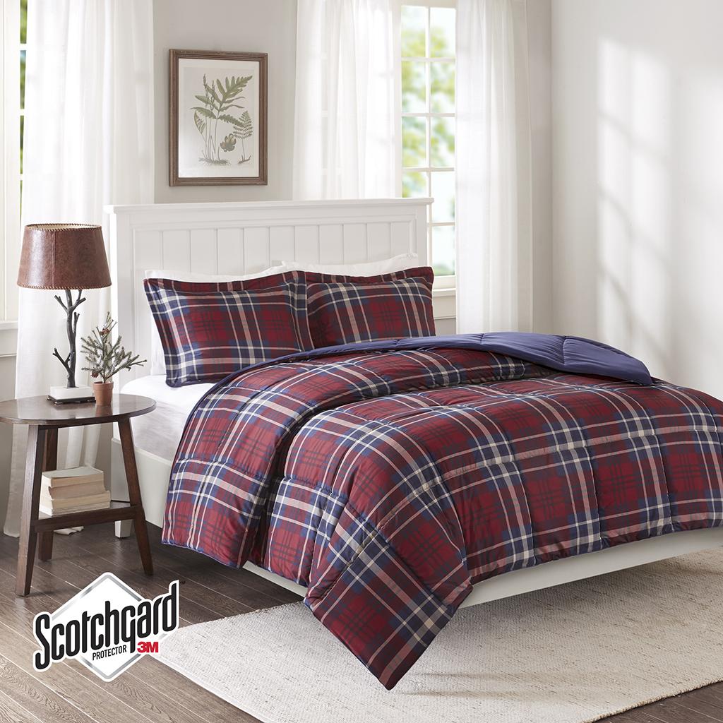Madison Park Essentials - Bernard 3M Scotchgard Down Alternative Comforter Mini Set - Red - Full/Queen
