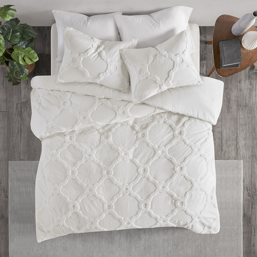 Madison Park - Pacey 3 Piece Tufted Cotton Chenille Geometric Duvet Cover Set - White - King/Cal King