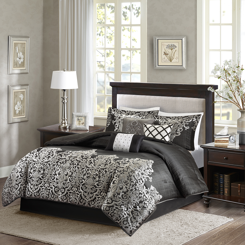 Madison Park - Vanessa 7 Piece Comforter Set - Black - Cal King