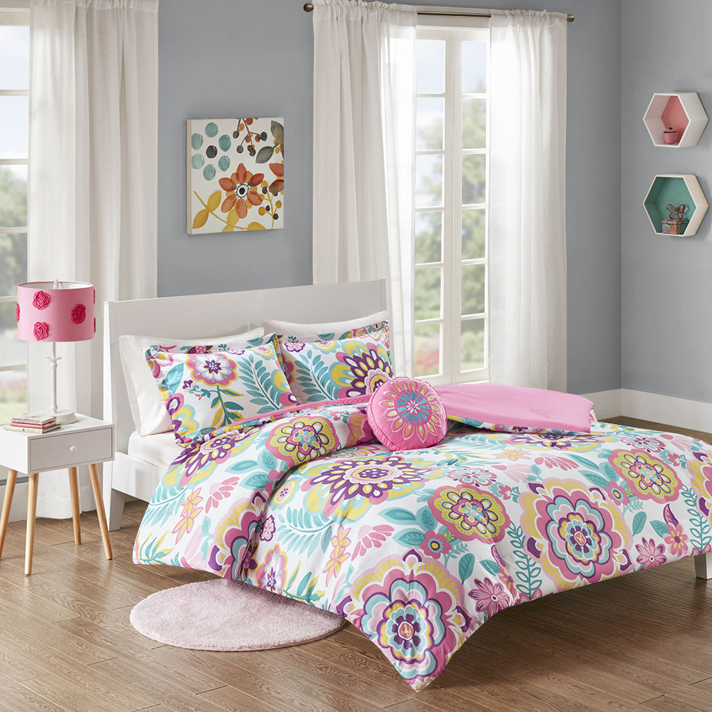 Mi Zone - Camille Floral Comforter Set - Pink - Twin/Twin XL