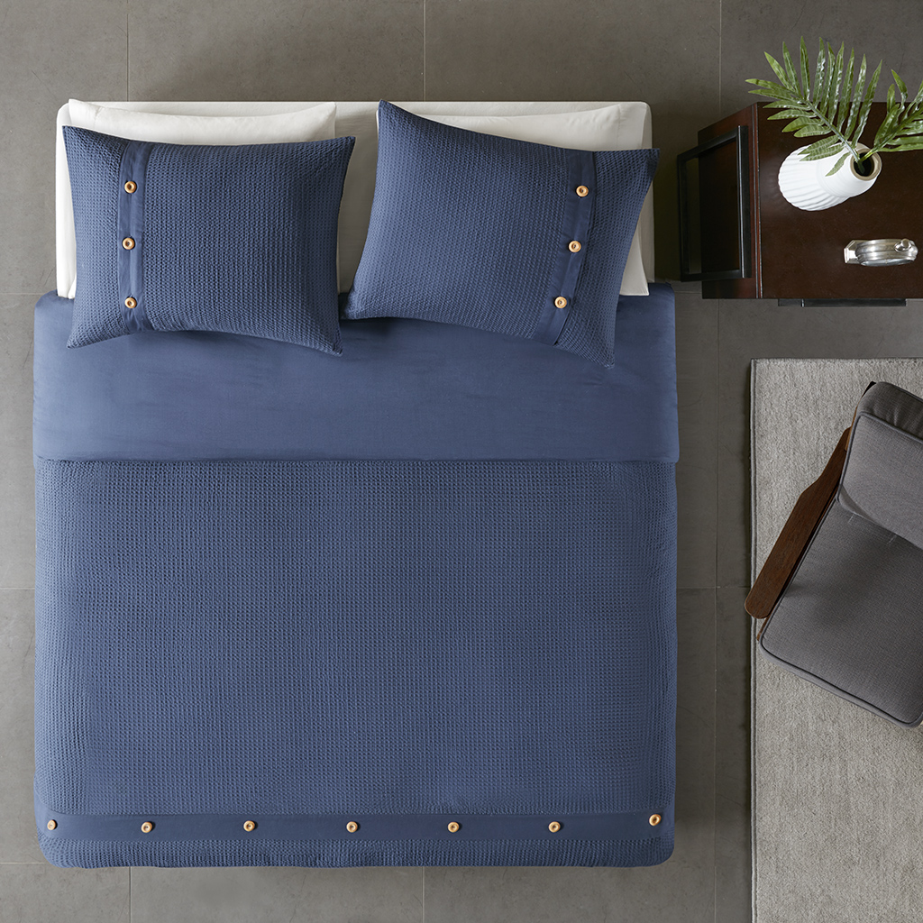 100% cotton comforter with waffle texture, button decoration
