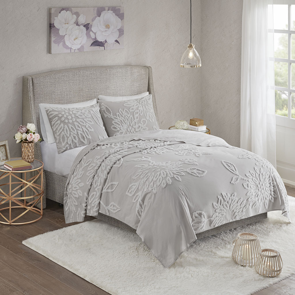 Madison Park - Veronica 3 Piece Tufted Cotton Chenille Floral Coverlet Set - Grey/White - Full/Queen