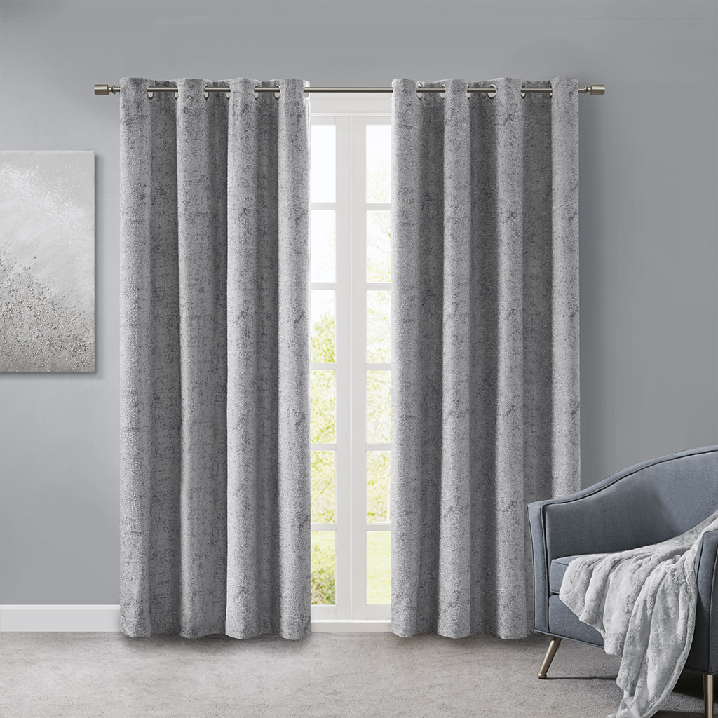 SunSmart - Ava Knitted Jacquard Marble Total Blackout Panel - Silver - 50x108