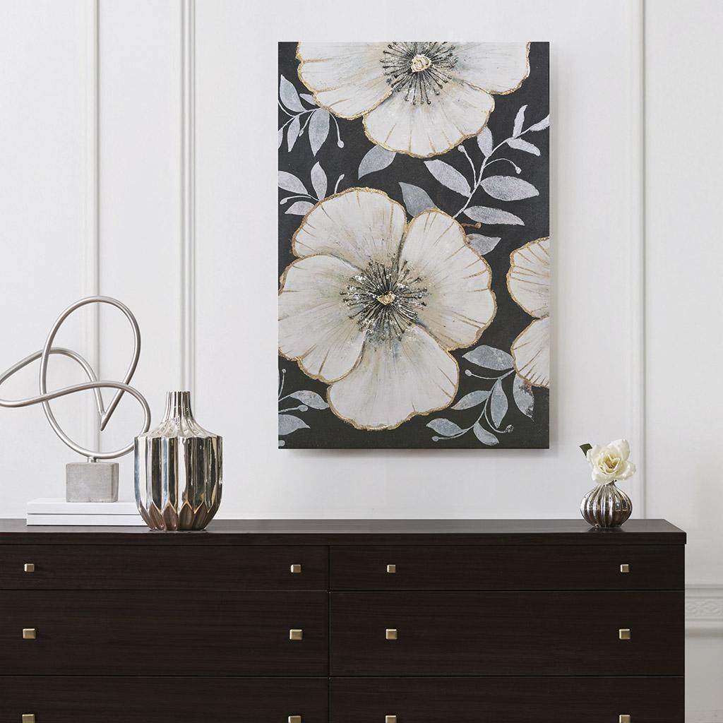 Madison Park - Opulence Bloom Gold Foil Floral Canvas Art Hand Embellished - Black/White - See below