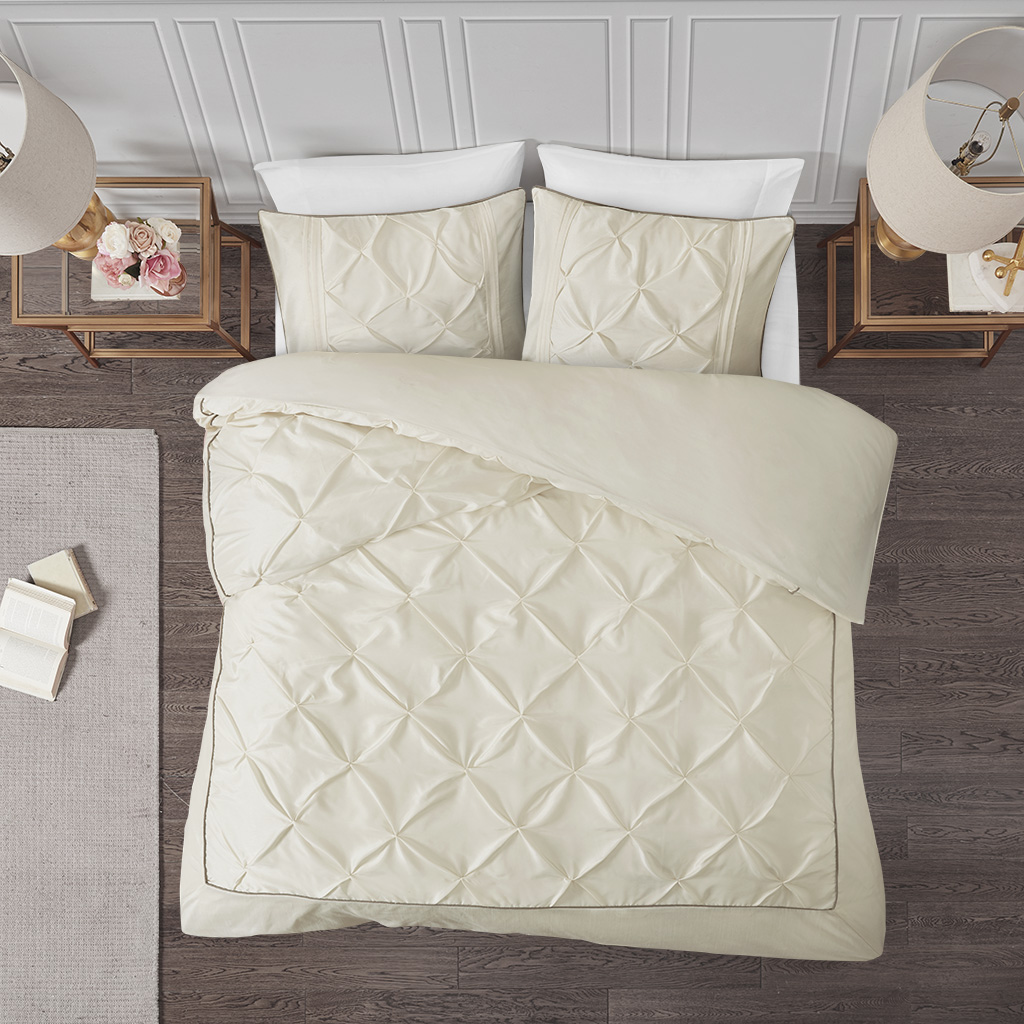 Madison Park - Laurel 3 Piece Tufted Duvet Cover Set - Ivory - King/Cal King