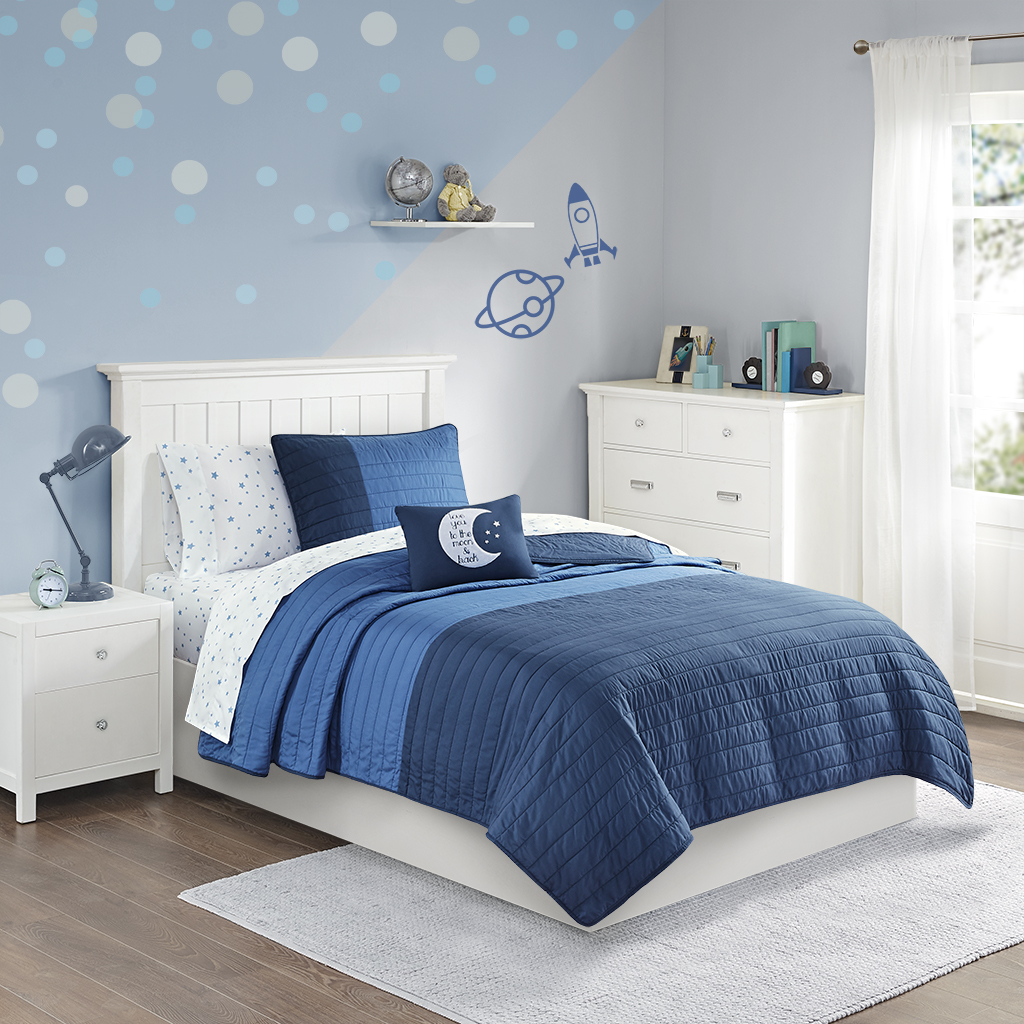 Mi Zone Kids - Emery Complete Coverlet and Sheet Set - Navy/Blue - Twin