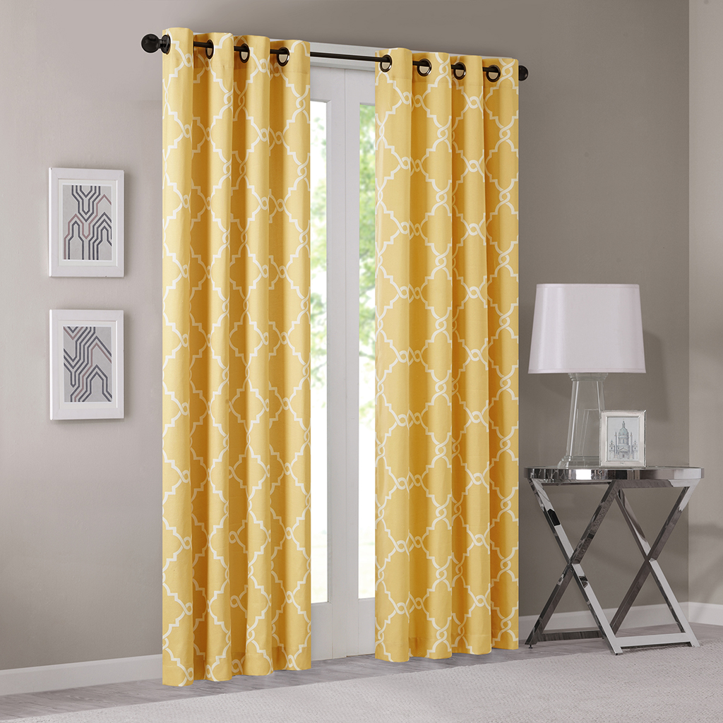 "Madison Park - Saratoga Fretwork Print Grommet Top Window Curtain - Yellow - 108"" Panel"