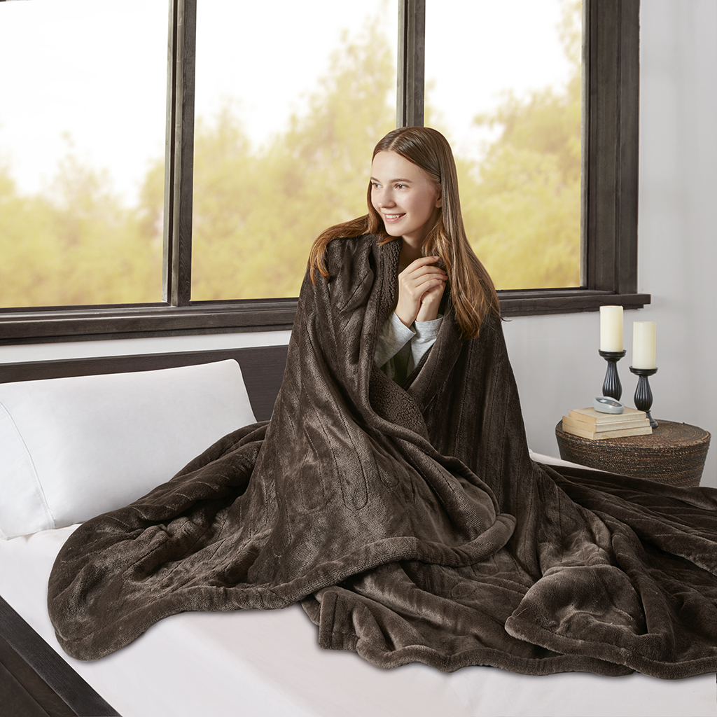 Beautyrest - Heated Microlight to Berber Blanket - Chocolate - Full