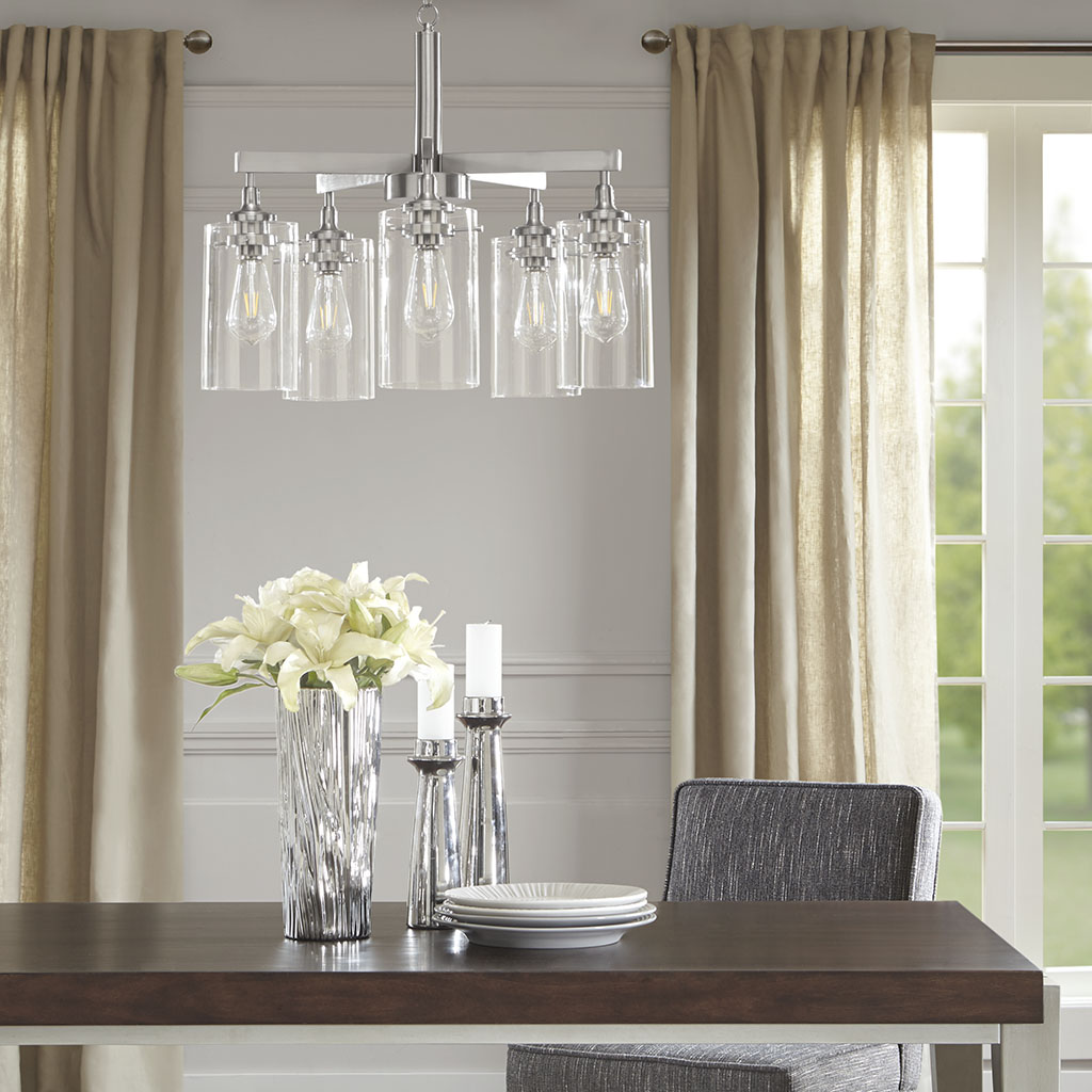 Madison Park Signature - Halsey Five Shade Chandelier - Silver - See below