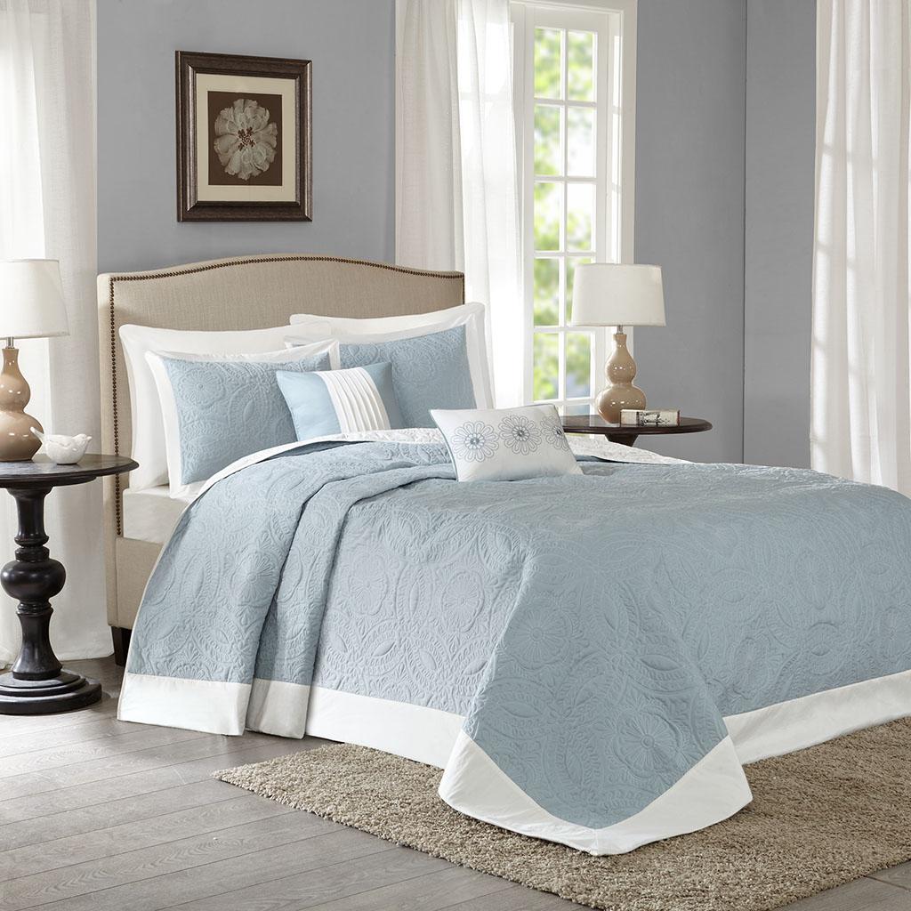 Madison Park - Ashbury 5 Piece Reversible Bedspread Set - Blue - King